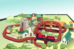 Pista miniatura del treno del giocattolo Immagine Stock