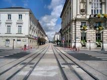 Pista moderna de la tranvía en la ciudad en Francia imágenes de archivo libres de regalías
