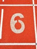 Pista pareggiante 6 di atletica Fotografia Stock