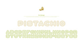 Pista. Chios style alphabet letters and numbers. vector, font type design. fruits package, regular lettering. stylized, chio typesetting. branding typeface Stock Photo