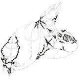 Pista repugnante estilizada abstracta del conejo de B&W Imagen de archivo libre de regalías