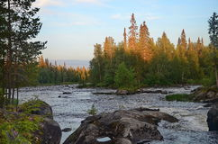 Pista river, Karelia, sunset Royalty Free Stock Photo