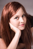 Pista roja joven hermosa Imagen de archivo libre de regalías