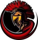 Pista romana de la mascota del centurión con el casco stock de ilustración