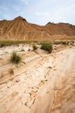 Pista seca en Bardenas Reales, Navarra, España Fotos de archivo libres de regalías