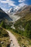 Pista stretta sopra la valle in alpi svizzere Fotografia Stock