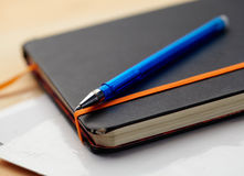 Pista y pluma de nota Imagen de archivo