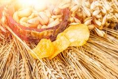 Pistacchi, arachidi e patatine fritte per birra Fotografia Stock