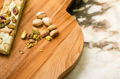 Pistache. Pistachio nougat and nut from Italy Royalty Free Stock Photos