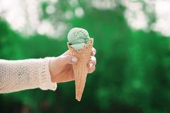 Pistacheroomijs in de handen van een meisje Wafelkop en ijs c Royalty-vrije Stock Foto's
