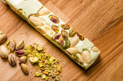 Pistachio and Almond Nougat. Closeup of pistachio and almond nougat Stock Photos