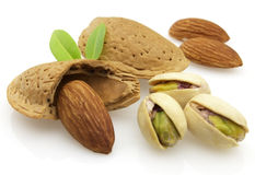 Pistachio with almonds Stock Photos