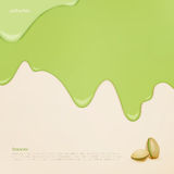 Pistachio banner. Fresh, flowing pistachio ice cream. vector slow food concept banner. closeup natural food background design. bakery menu decoration with drip Royalty Free Stock Images