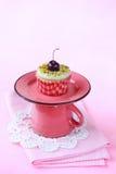 Pistachio Cherry Cupcake Stock Image