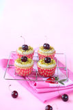 Pistachio Cherry Cupcakes Royalty Free Stock Images