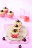 Pistachio Cherry Cupcakes Stock Photo