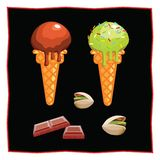 Pistachio and chocolate ice cream. Dessert on a black background for the menu of the restaurant and cafe. Chocolate tiles and pist. Achios. Icon of food on a Stock Photos
