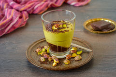 Pistachio and chocolate mousse Stock Images