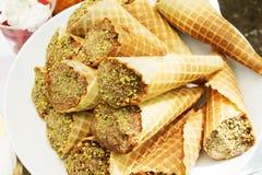 Pistachio chocolate waffle cones Royalty Free Stock Photos