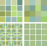 Pistachio color tiles. Structure of a square mosaic tile of pistachio shades in different scale. Colors: greenish, brown-green, bluish-green, brown-yellowish Stock Image