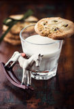 Pistachio cookie on a glass of milk Stock Photography