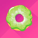 Pistachio donut with powdered sugar. Sweet pastry: green pistachio donut with a decoration of white vanilla sugar on the top, over pink background Vector Illustration