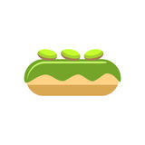 Pistachio eclair. Flat styled illustration of pistachio eclair. design element isolated on white background Royalty Free Stock Photo
