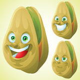 Pistachio face expression cartoon character set Royalty Free Stock Photos