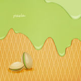 Pistachio. Fresh, flowing pistachio ice cream over wafer pattern. vector dessert background. closeup natural food wallpaper design. bakery menu decoration with Stock Images