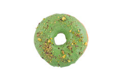 Pistachio green donut. Pistachio green Delicious Donut Isolated on White Background top view Royalty Free Stock Images