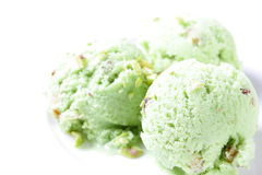 Pistachio ice cream. Stock Photo