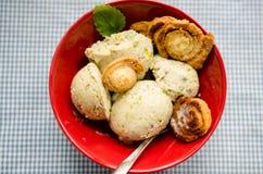 Pistachio ice cream from above Stock Photo