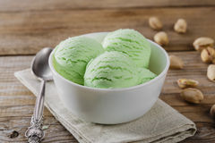 Pistachio ice cream in a bowl Royalty Free Stock Image