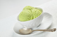 Pistachio Ice Cream in a Bowl Royalty Free Stock Photography