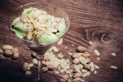 Pistachio ice cream in glass Stock Photography