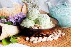 Pistachio ice cream Stock Photos