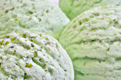 Pistachio Ice Cream, scoops of ice cream,  macro Royalty Free Stock Image