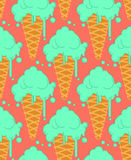 Pistachio ice cream in waffle cone seamless pattern. Cold dessert Stock Photos