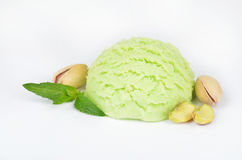 Pistachio ice cream  on white background Royalty Free Stock Image
