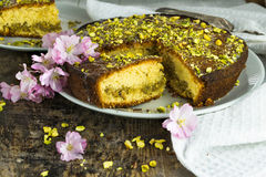 Pistachio and lemon drizzle cake Royalty Free Stock Image