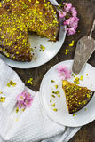 Pistachio and lemon drizzle cake Stock Image