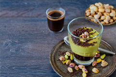 Pistachio mousse in a glass Royalty Free Stock Photography