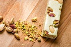 Pistachio Nougat. Traditional Italian nougat with pistachios Stock Images