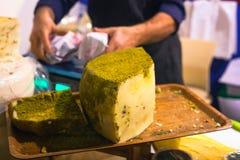 Pistachio nut cheese Stock Photo