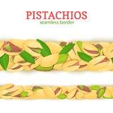Pistachio nut Horizontal seamless border. Vector illustration card. Royalty Free Stock Photo