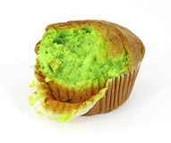 Pistachio nut muffin that has had one bite Stock Images