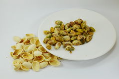 Pistachio nut peel out on dish Royalty Free Stock Photo