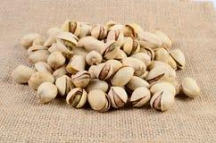 Pistachio nut. On a sackcloth Royalty Free Stock Photo