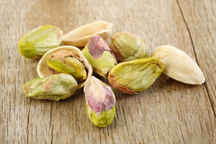 Pistachio nut on wooden table background Royalty Free Stock Photography
