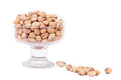 Pistachio nuts. Close up view of phistachio nuts on a white background Stock Photography